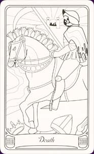 Fabulous image inside printable tarot cards to color