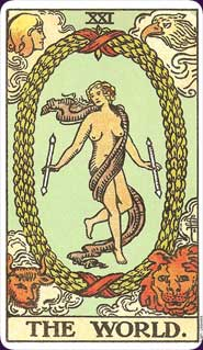Original Rider-Waite Tarot World Card