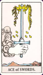 Rider-Waite Tarot Ace of Swords Card
