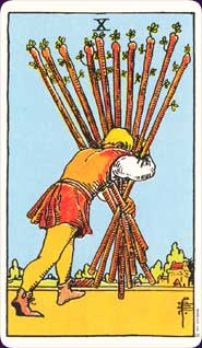 Rider-Waite Tarot Ten of Wands