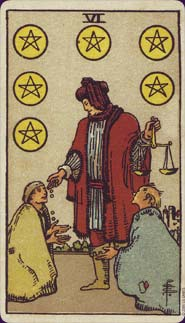 Rider-Waite Tarot Six of Pentacles