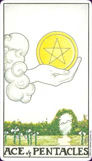Universal Waite Tarot Ace of Pentacles Card